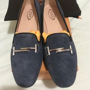✨TOD'S Double T Ballerina Navy Suede Loafers